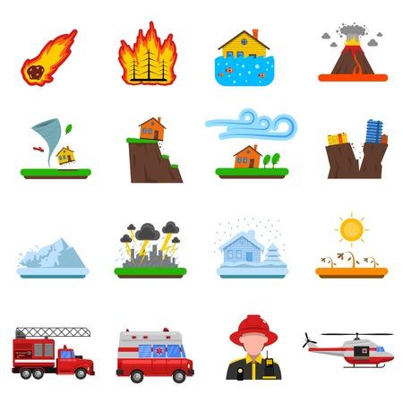 voiture de pompiers: Les catastrophes naturelles icônes plates réglées avec vague feu de forêt de tsunami et le séisme de terre symboles abstraits isolé illustration vectorielle