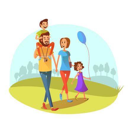 Famille week-end concept avec des parents et des enfants marchant vecteur de bande dessinée illustration
