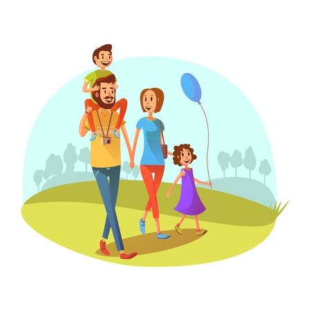 grass: Family weekend concept with parents and children walking cartoon vector illustration