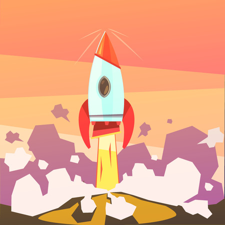 astronautics: Rocket launch and startup cartoon background with ground and fire vector illustration Illustration