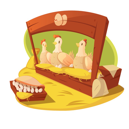 Hen and eggs on a farm with hay and bags of grain for feeding vector illustration
