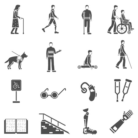 blind dog: Disabled and elderly people accessories black icons set with crutches canes and wheelchair abstract isolated vector illustration