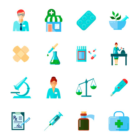 medical instruments: Pharmacist isolated icon flat set with drugs and methods of use of different medical instruments vector illustration