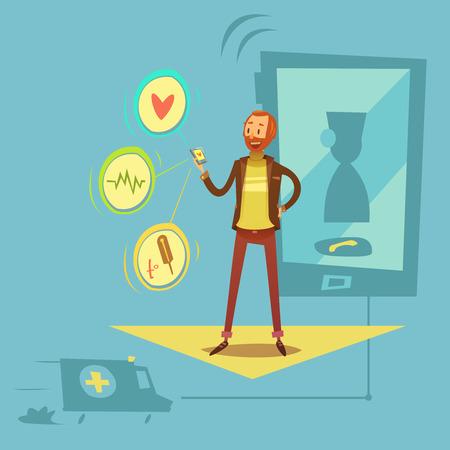 Mobiele gezondheidsdiagnostiek concept met gezondheids- en geneeskunde symbolen cartoon vectorillustratie