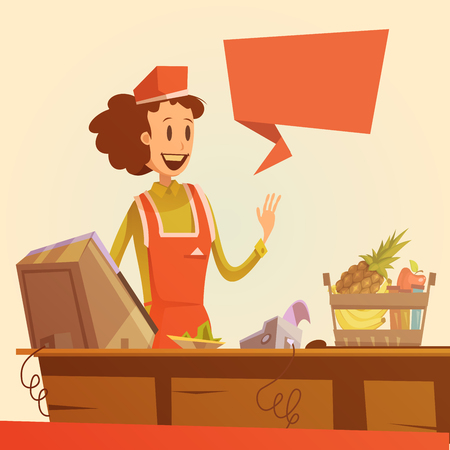 Saleswoman at pay desk retro background with basket and food cartoon vector illustration
