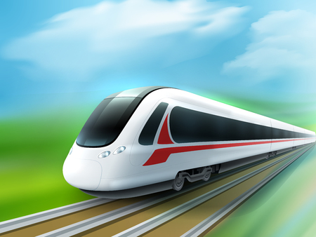 high speed railway: Super streamlined high-speed day train in the countryside meadow realistic image ad poster vector illustration
