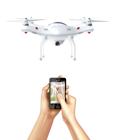 unmanned: Unmanned drone and smartphone with  navigation app in human hands realistic concept vector illustration