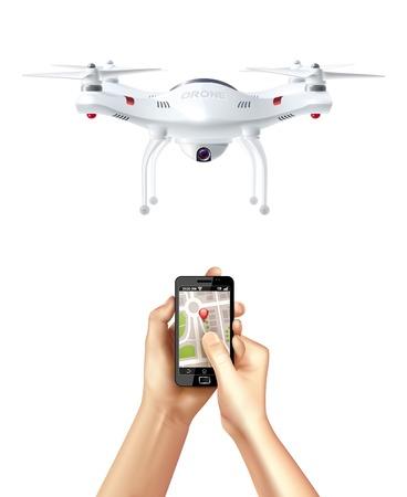 Drone sans pilote et smartphone avec application de navigation dans des mains humaines illustration vectorielle de concept réaliste