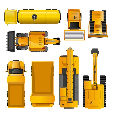 Set of yellow realistic construction machinery  top view isolated vector illustration