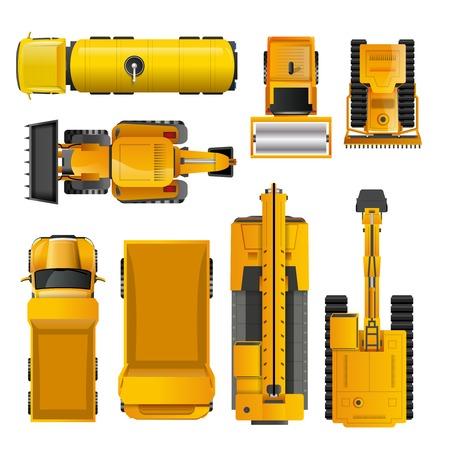 Set van geïsoleerde gele realistische bouwmachines bovenaanzicht vector illustratie Stock Illustratie