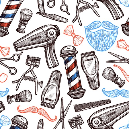 Barber shop tools accessories and symbols seamless pattern in red blue black doodle abstract vector illustration
