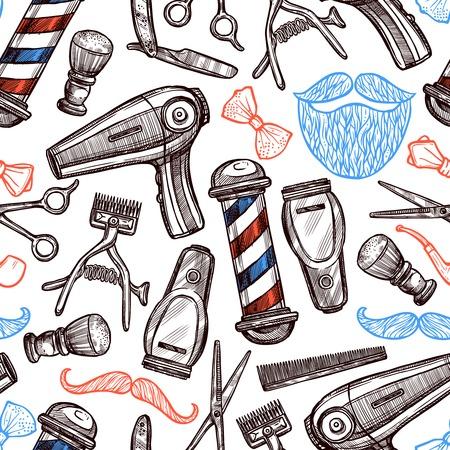 Kapperszaak gereedschappen accessoires en symbolen naadloze patroon in rood blauw zwart doodle abstracte illustratie Stock Illustratie