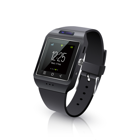 wristband: Smartwatch wearable computer accessory for timekeepnig and basic tasks wristwatch realistic black vector illustration