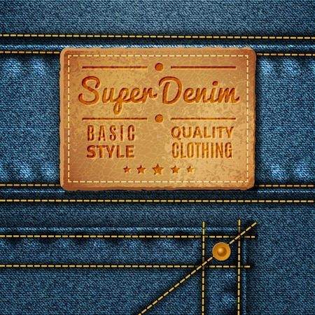 sewn: Leather tag with inscription and stars sewn on jeans in retro style vector illustration Illustration