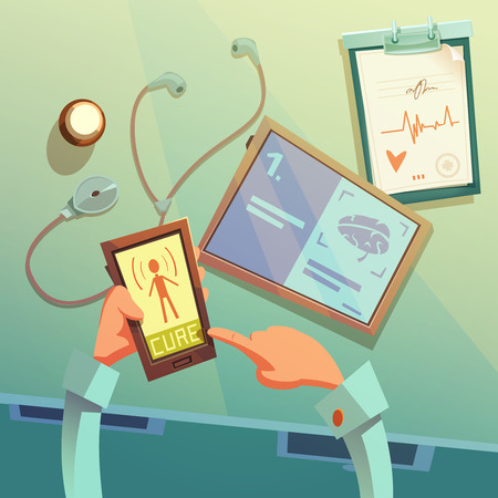 medical equipment: Online medical help cartoon background with medical equipment vector illustration