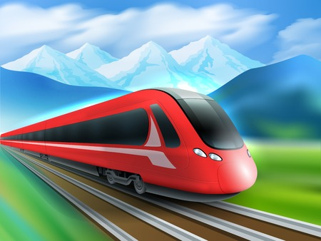 streamlined: Red streamlined high-speed day train with mountain range background realistic image ad poster print vector illustration Illustration