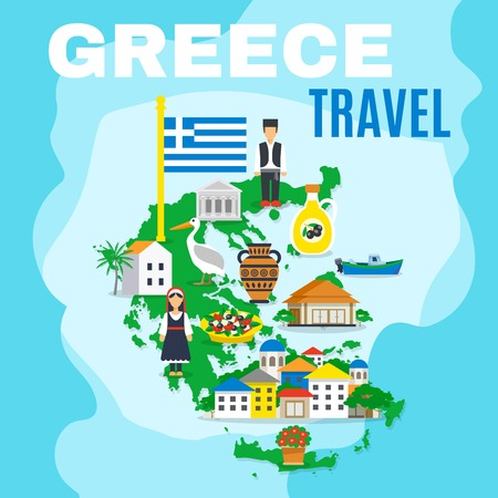 peculiarities: Greek poster with mainland map and main attractions sightseeing and peculiarities of the country vector illustration Illustration