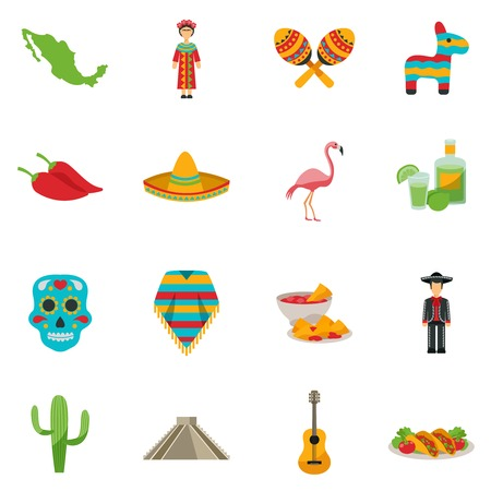 sightseeings: Set of flat icons with traditional food costumes animals and sightseeings of Mexico vector illustration