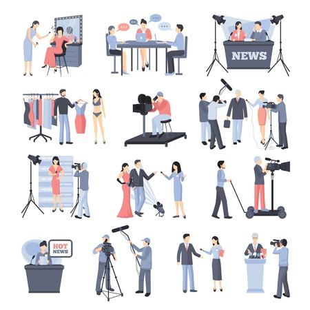 famosos: Pressman y el operador de conjunto de iconos con los periodistas reportero de noticias celebridades ilustración vectorial