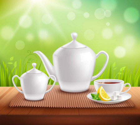 sugar bowl: Elements of tea service composition with teapot sugar bowl and cup on wooden table vector illustration Illustration
