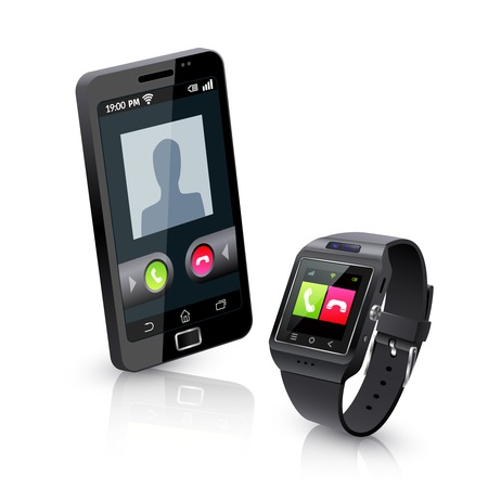 compatible: Black smartwatch alerts for compatible smart phone incoming call realistic objects composition with white background vector illustration Illustration