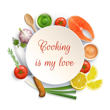 food dish: Love for cooking flat lay ingredients composition photo build around the plate with cock knife vector illustration Illustration