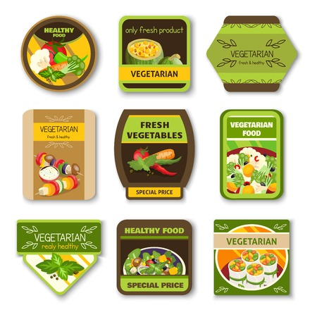 Vegetarian food colorful emblems with vegetables verdure spices for healthy lifestyle isolated vector illustration Illustration