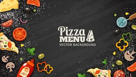 Pizza menu chalkboard cartoon background with fresh ingredients vector illustration Ilustração