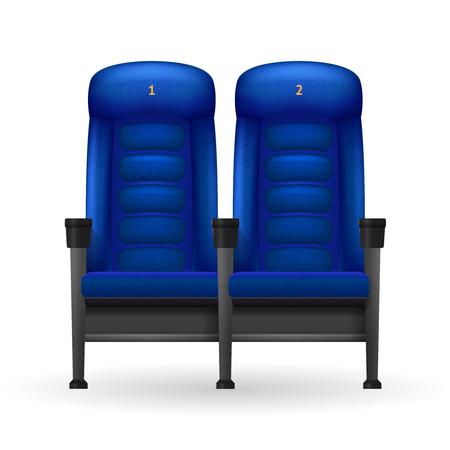 cinema seats: Blue comfortable realistic cinema seats set for cinema visiting vector illustration