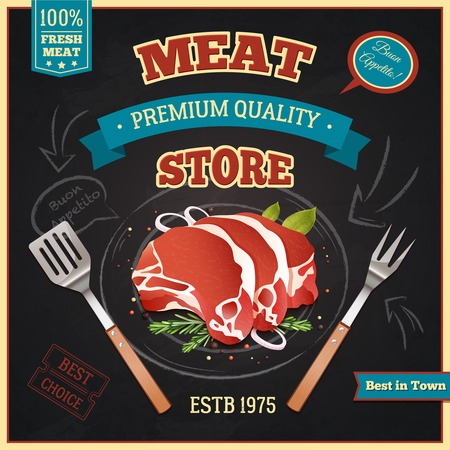 meat: Premium quality chalkboard meat poster with fresh meat symbols realistic vector illustration