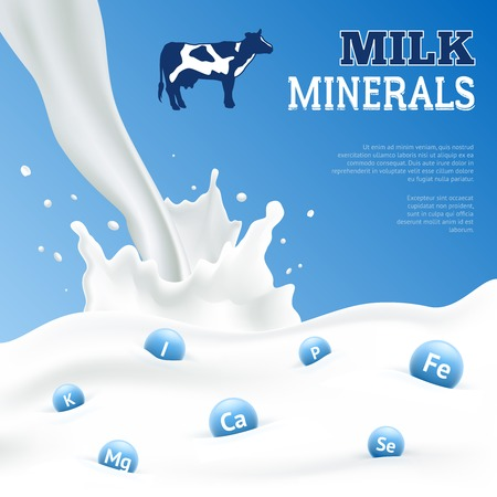 Milk minerals realistic poster with cow on blue background vector illustration Stock Illustratie