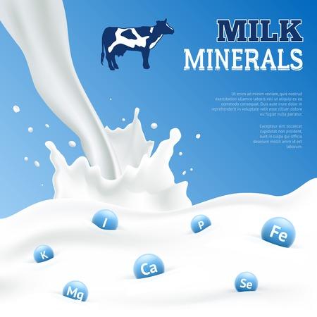 dairy: minerales de la leche de carteles realista con la vaca en el fondo azul ilustración vectorial