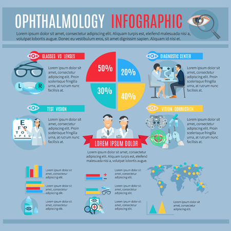 ophthalmology: Ophthalmology center tests and vision correction options infographic with treatments and optics choice statistic diagrams abstract vector illustration Illustration