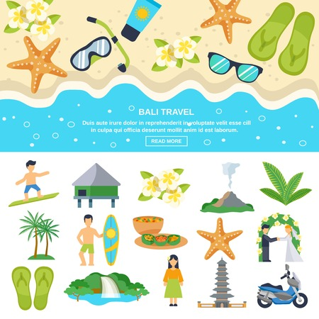 Concept Bali travel beach subjects and tourism goals isolated vector illustration