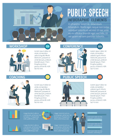 Public speech infographic elements with coaching workshop and conference presentations information design poster flat abstract illustration vector