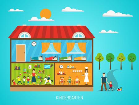 regime: Flat poster of kindergarten building with scenes in rooms showing various steps of daily regime vector illustration Illustration