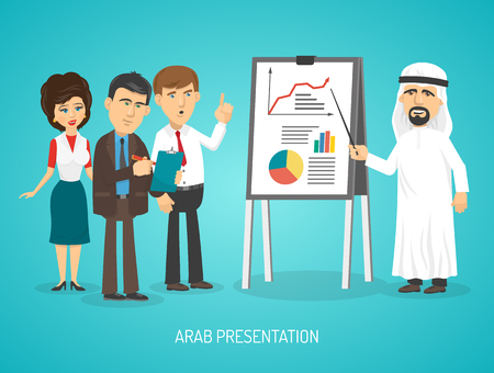 cartoon clothes: Arab in traditional arabic clothing doing presentation with flip chart to european people cartoon poster vector illustration