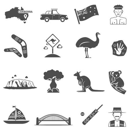 kangaroo white: Australia black white icons set with kangaroo and koala flat isolated vector illustration