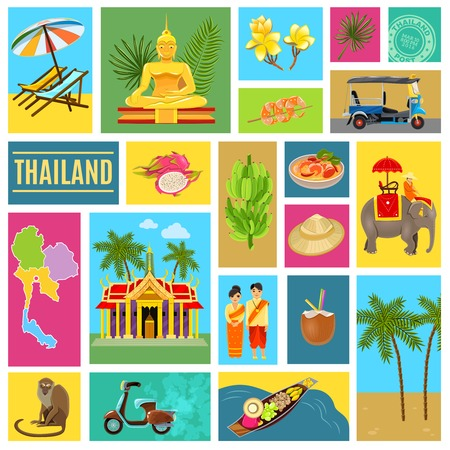 distinguishing: Thailand poster consisting of individual icons with images of main distinguishing features of the country vector illustration Illustration