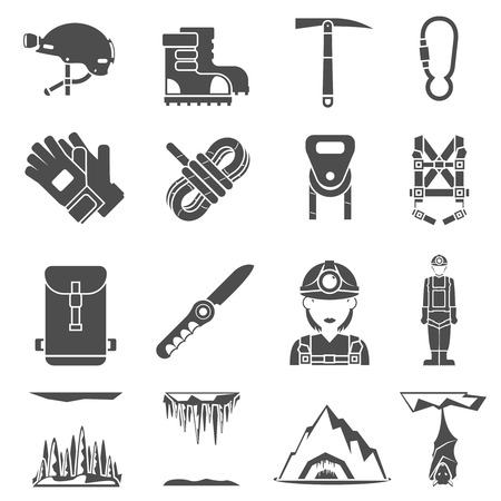 icon man: Speleologist caves exploration equipment black icons set with light harness fastener and lock abstract isolated  vector illustration