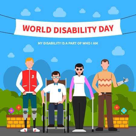 dog wheelchair: World disability day for solidarity and support flat poster design with handicapped people abstract vector illustration