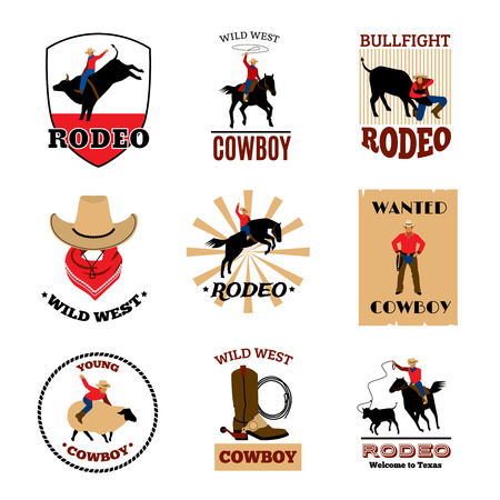 bullfighting: Cowboy rodeo games from mustang riding and bullfighting to lasso usage flat emblems set isolated vector illustration Illustration