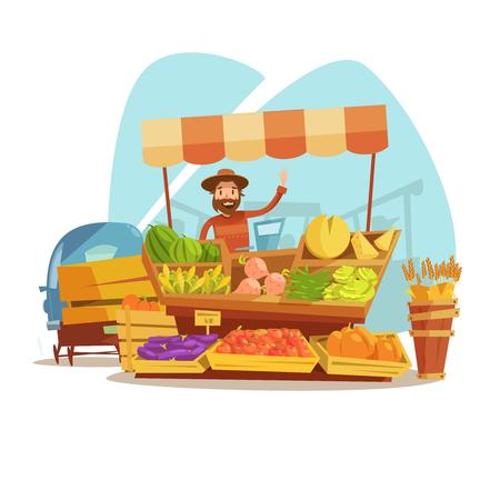 huevo caricatura: el concepto de mercado de dibujos animados con los vehículos y la venta de los agricultores de frutas ilustración vectorial Vectores