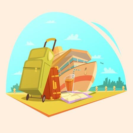 Voyage Cartoon-Konzept mit Kreuzfahrtschiff-Saft und Koffer Vektor-Illustration Vektorgrafik