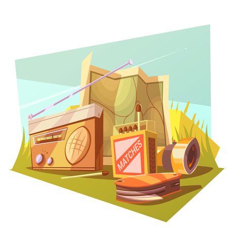 cerillos: Hiking cartoon concept set with map matches radio and knife vector illustration