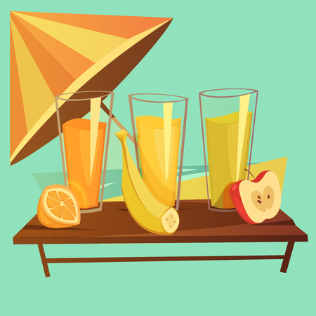 cartoon umbrella: healthy drinks cartoon concept with banana orange and apple juice on green background vector illustration