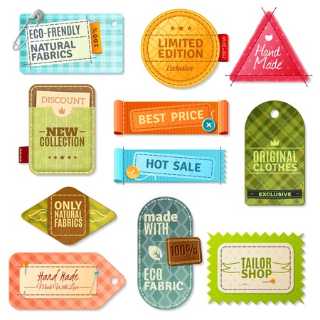 handmade: Colorful handmade fabric label set isolated in different shapes and styles vector illustration Illustration