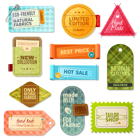cotton fabric: Colorful handmade fabric label set isolated in different shapes and styles vector illustration Illustration
