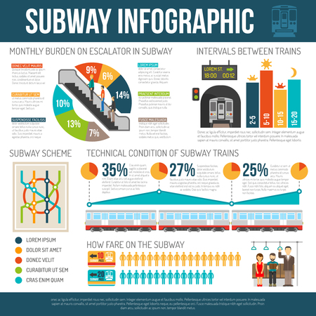 subway station: Underground infographics with different statistics of subway train technical condition ticket sale rate and other flat vector illustration