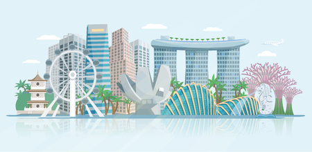 現代の中央ビジネス地区の高層ビルと歴史的な寺院の抽象的なベクトル図を構築シンガポールのスカイラインのパノラマ ビュー